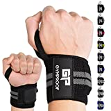 GYMPROOF - Premium Handgelenkbandagen im 2er Set - Wrist Wraps - für optimalen Trainingserfolg im Fitness, Bodybuilding, CrossFit, Kraftsport und Powerlifting [geeignet für Frauen & Männer] (schwarz/grau)