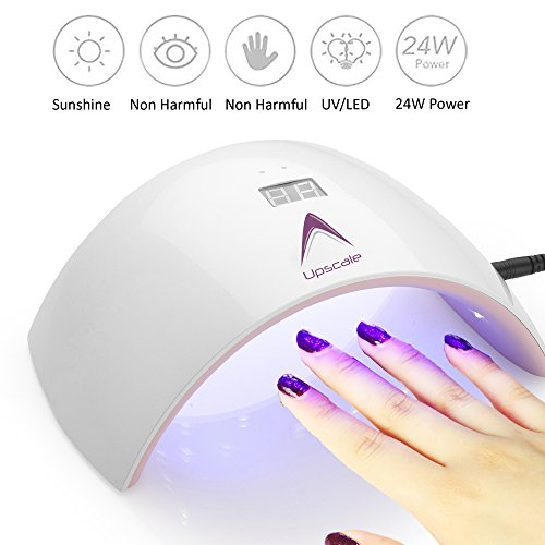 Upscale 24W LED UV Nail dryer curing lamp for fingernail and toenail gel based polish with LCD display, timer and sensor switch