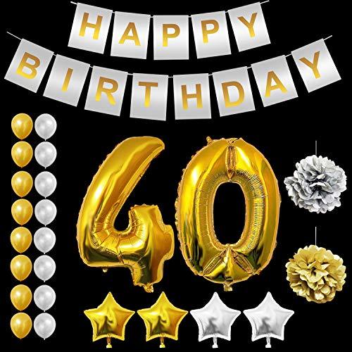 BELLE VOUS Geburtstag Luftballon Dekorationen Set - Gold 40 Luftballons, Gold & Silber Latexballons, Sterne Folienballons, Happy Birthday Banner, Pompoms für Geburtstag Partei Dekoration (Age 40)