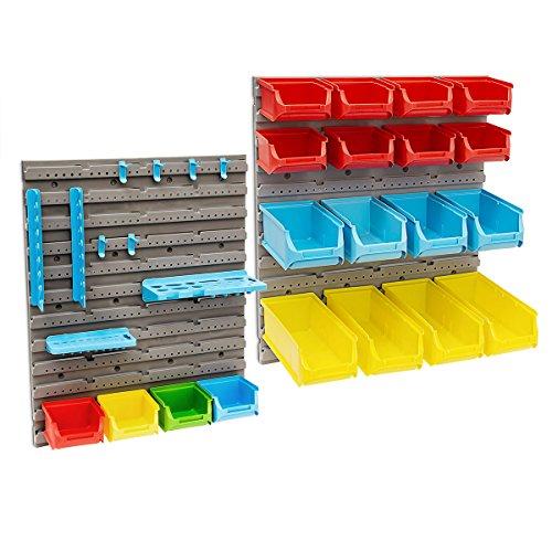 Relaxdays Werkzeugwand 43-teilig mit Stapelboxen Werkzeughalterung Haken als Lochwand zum Ordnen Sortieren und Werkzeugaufbewahrung anstatt Werkzeugschrank für Garage Keller Werkstatt Lager, bunt