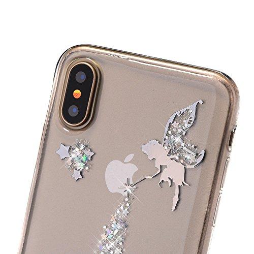 JAWSEU iPhone X Coque Transparent Glitter,iPhone X Plus Etui en Silicone Clair avec Pailletee,Brilliante Bling À pois Soft Tpu Case Cover,Ultra Slim Sparkle Scintillant Flexible Souple Gel Housse Etui argent/Ange