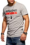 Jack & Jones T-Shirt Homme Manches Courtes Imprimé Shirt Top Haut Coton Tendance (Medium, Light Grey Melange)