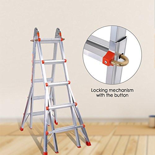 Coocheer Aluleiter Teleskopleiter Multifunktionsleiter verwendbar als Anlege- und Schiebeleiter, beidseitige Steh- und Treppenleiter, max. Belastbarkeit 150kg (5-Stufen-Leiter)