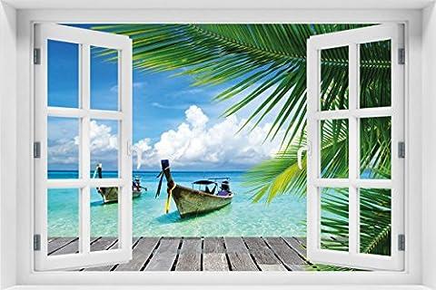 Wallario Acrylglasbild mit Fenster-Illusion: Motiv Sonnenboot in der Karibik - 60 x 90 cm mit Fensterrahmen in Premium-Qualität: Brillante Farben, freischwebende (Illusion Glas Schiff)