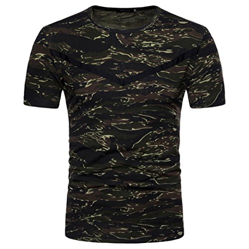 FNKDOR Summer Boy Men's School Outdoor Active Handsome Casual Camouflage Print O Neck Pullover Short T-Shirt Top Blouse