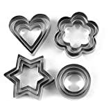 #10: Cartshopper Cookie Cutter 12Pcs/set Pastry Fruit Molds Stainless Steel Heart Flower Round Star Biscuit Mould Fondant Cutting Cutters Cookie Cutter (Pack of 12)