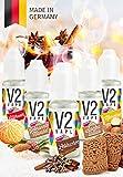 V2 Vape E-Liquid Set Winterzeit ohne Nikotin 5x10ml - Luxury Liquid für E-Zigarette und E-Shisha Made in Germany aus natürlichen Zutaten 0mg nikotinfrei