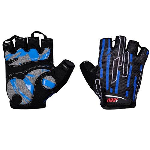 SEEU Damen Herren Fahrradhandschuhe, Radsport Handschuhe mit Geleinlage und voller Dämpfung Blau S