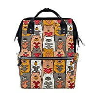 ALINLO Bear with Hearts Pattern Diaper Bags Mummy Tote Bags Large Capacity Multi-Function Backpack for Travel