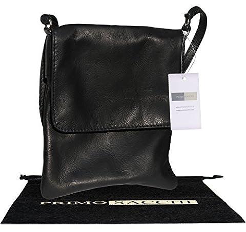Genuine Italian Soft Leather, Small Black Messenger Cross Body or