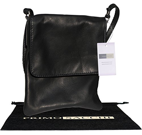 Italiano in morbida pelle, piccole e medie Messenger croce corpo o spalla borsetta.Include una custodia protettiva marca. Nero