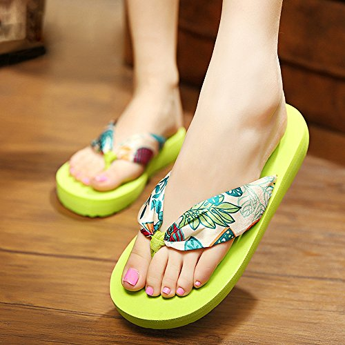 PLECUPE Summer Bohemia Flip Flops Beach Shoes, Fashion Soft Women Slippers Sandals Anti-Slip Bohemian Thongs Flip Flops for Girl