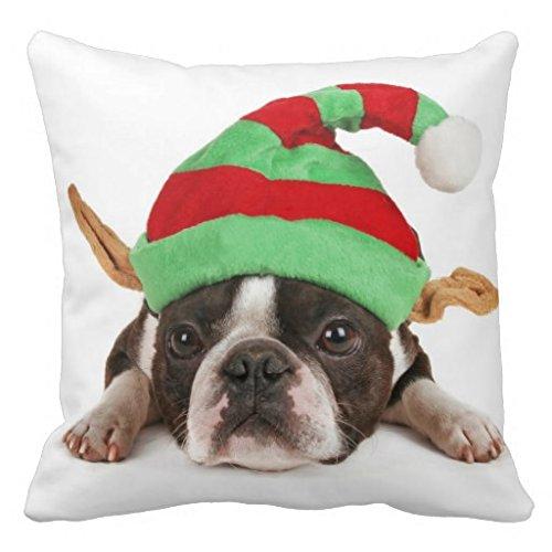 Boston Terrier mit A Christmas Hat Überwurf r214C33fb2e094b14b41409b1C375a234i5F2K 8byvr Kissen Fall (Boston Terrier Kissen)