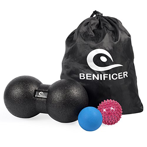 Benificer Massageball 3er-Set Peanut Double Ball Igelball und Lacrosse Ball Ideal zur Faszien und Trigger Point Massage Faszienbälle Therapieball Massagegebälle Mobility Ball Perfekt für Yoga, Sport, Crossfit und Fitness