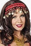 Jannes 33025 Tiara Ziegeunerin mit Münzen Bauchtänzerin Wahrsagerin Kopfschmuck Einheitsgröße Rot