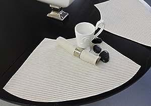 signo konische tisch sets f r runde tische 4 st ck natur wei gestreift k che. Black Bedroom Furniture Sets. Home Design Ideas