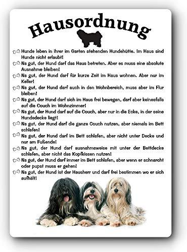 Blechschild/Warnschild/Türschild - Aluminium - 15x20cm - Lustige Hausordnung für Mensch und Hund: Tibet Terrier