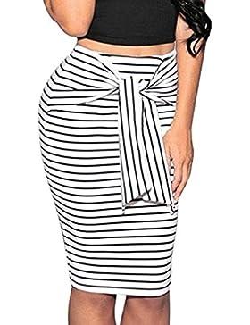 Falda Ajustadas De Mujer con Cordones Casuales Faldas Tubo De Moda Falda De Rayas LáPiz Paquete Cadera