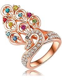 Soxid (TM) Peacock princesa anillos de compromiso de 18 quilates de oro rosa Placa de lujo Pave austr¨ªaco joyer¨ªa cristales encanto Ri-HQ0196
