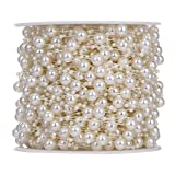#4: Rrimin 10m/32.8 feet Fishing Line Artificial Pearls Beads String Ribbon Wrap DIY Party Garland Wedding Centerpieces Bridal Bouquet Crafts Decoration (Beige)