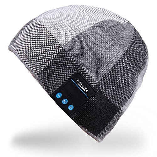 Rotibox Männer Frauen Bluetooth Audiomusik-Beanie mit Stereo-Lautsprecher Kopfhörer, Mikrofon, die Hände frei und Akku für Handys, iPhone, iPad, Tablets, Android Smartphones - Schwarz (Frei Hände Lautsprecher Die Bluetooth)