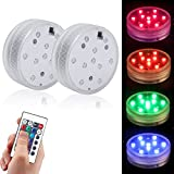 COOLWEST RGB Farbe LED Stimmungslichter Teelichter, IP68 Tauch Wasserdicht Beleuchtung für Haustiere, Aquarium, Weihnachten, Badewanne, Schwimmbad, 2 Stück mit Fernbedienung (Nicht inkl. Batterien)