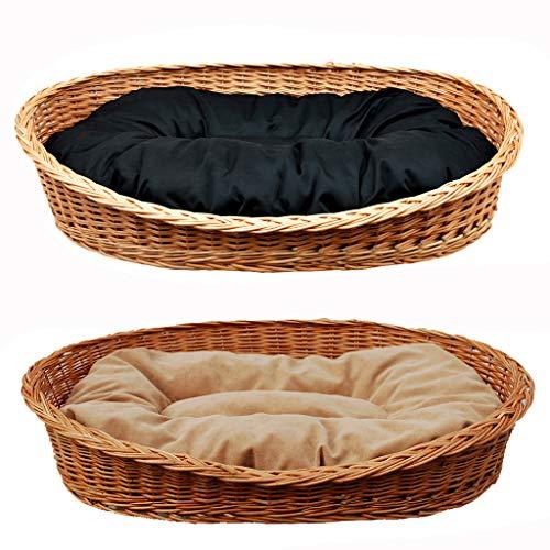 GalaDis Großer Hundekorb/Hundebett/Hundesofa aus Weide mit weichem Hundekissen für mittelgroße und große Hunde 95 cm