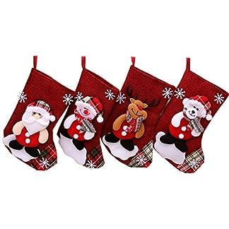 TRUBUY Medias de Navidad, 4 Piezas Calcetin de Navidad Decoración Calcetines del Bolso del Regalo del Caramelo de Navidad Navidad Colgantes del Arbol para Inicio/Fiesta/Decoración de Chimenea
