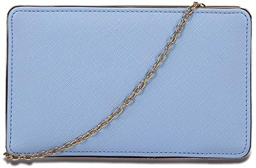 Kukubird texture simili cuir Slim minimaliste Prom Party pochette sac à main portefeuille Blue