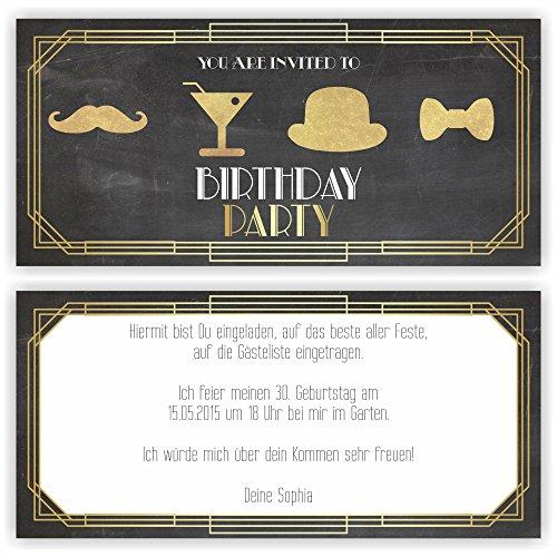 Einladungskarte Geburtstag Gatsby I Einladung VINTAGE (30 Stück)