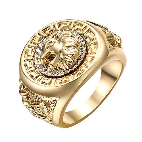 Yoursfs Ring Herren löwe 18 K Vergoldet Ring Lion Siegelring Herr der Ringe Ring (vergoldet, 54 (17.2))