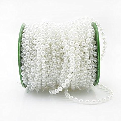 Lugii Cube 6mm Perles artificielles Perles de corde de DIY pour décoration de mariage Praty 25m/Rouleau, blanc