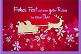 metalum Premium-Weihnachtskarte mit festlichem Motiv in tollen Farben und filigranem Rentier-Schlitten aus echtem Holz - eine ganz besondere Weihnachtskarte!