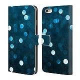 Head Case Designs Offizielle PLdesign Cyan Blau Funkelnde Bokeh Abstrakte Photographie Brieftasche Handyhülle aus Leder für iPhone 6 Plus/iPhone 6s Plus