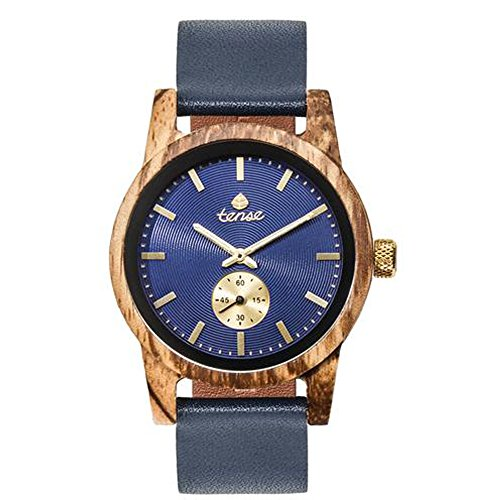 Premium Holzuhr TENSE Mens Leather Hampton - Zebranoholz | blaues Ziffernblatt Herrenuhr B4701Z-BL