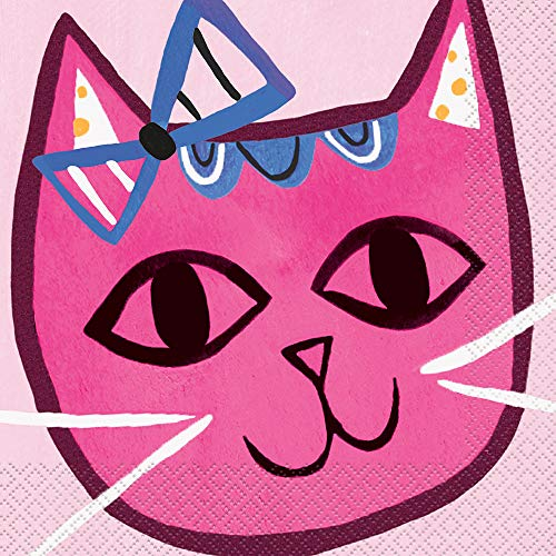 apierservietten Pink Cat Party, 16 Stück, mehrfarbig ()