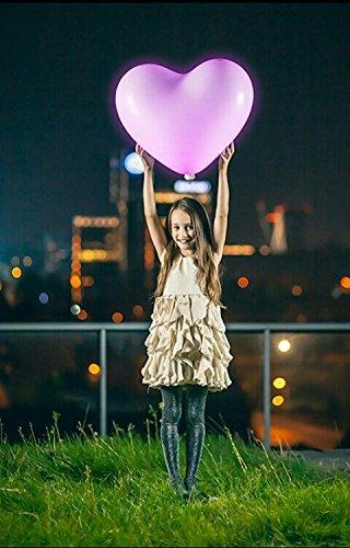 ledyourparty - 4 globos led grandes 60cm forma de corazon color Mix