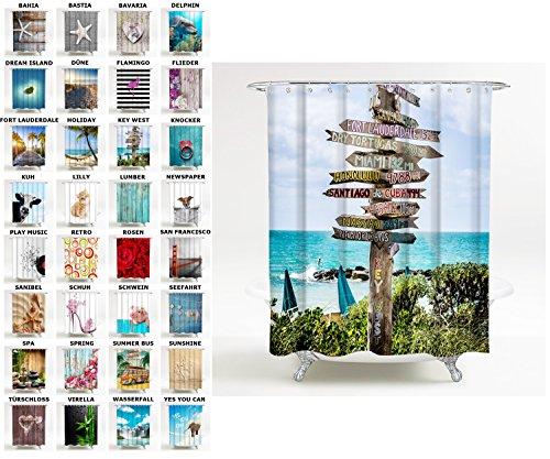 Duschvorhang, viele schöne Duschvorhänge zur Auswahl, hochwertige Qualität, inkl. 12 Ringe, wasserdicht, Anti-Schimmel-Effekt (180 x 180 cm, Key West) (Key West Grün)