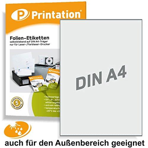 Selbstklebende Etiketten 210 x 297 mm WETTERFEST transparent auf DIN A4 Bogen - 1 Etikett pro Seite - 10 Polyester Folienetiketten selbstklebend mit Laser Drucker bedruckbar