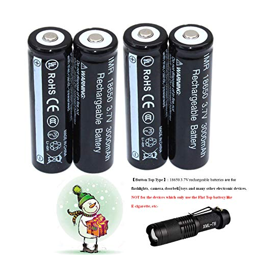 bff2771fa 4-Pack18650 Li-ion Rechargeable 3.7V Battery + LED Torch Flashlight Set