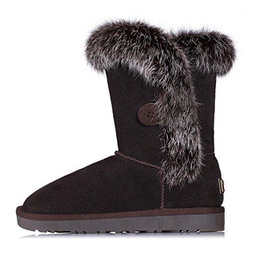 Schneestiefel Winter Schnee Stiefel Frau Student Verdickung Baumwolle Stiefel Baumwolle gepolsterte Schuhe Stiefel ( Farbe : Schokoladen-Farben , größe : 36 ) (Jugend Schuhe Schokolade)