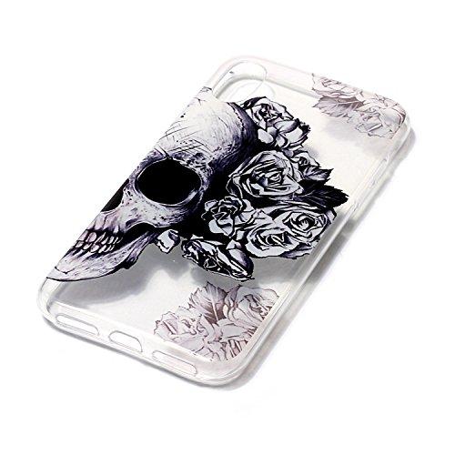 Cover Apple iPhone X, Voguecase Custodia Silicone Morbido Flessibile TPU Transparent Custodia Case Cover Protettivo Skin Caso (cuori rossi 05) Con Stilo Penna fiore Skull 01