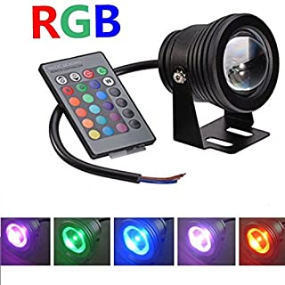 1pcs Aurox 10W 12V RGB Color Changing IP67 Waterproof LED Outdoor Flood Light+IR Remote Control,Underwater Decor Spotlight/Wall Lighting for Landscape Garden Lawn Swimming Pool Pond Ground Rockery Fountain(Black) (1Pack)