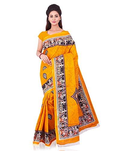 Roopkala Women Pure Cotton Printed Saree (SRS-379,Mustard)