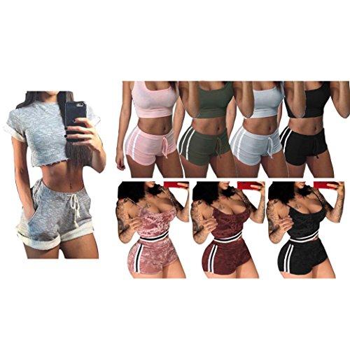 Femme Yoga Ensembles Bra + Shorts - Juleya Femmes Stripe Costumes de sport Doux Survêtement Confortable Tops Pantalons de sport Gym Outfit pour Jogging, Corsa, Fitness Rouge