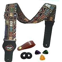 Correa de guitarra Vintage estilo tejida ajustable guitarra eléctrica acústica Bass Correa con extremos de cuero
