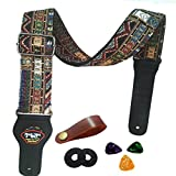Guitar Strap Vintage Woven Style Adjustable Acoustic Electric Guitar Bass Strap with Leather Ends, Picks, Strap Bundle, Button (Yellow)