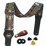 Tracolla per chitarra Cinturino basso elettrico chitarra acustica stile vintage regolabile con estremità in cuoio, plettri, fascette, bottoni (Rosso)