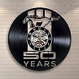 Luziang Vinyl Record Wanduhr Mercedes-Benz Pferd Totem Black Gum Rekord Uhr Vinyl kreative Kunst Dekorative Uhr Persönlichkeit Wand Uhr Größe: 30cm, passend für: Wohnzimmer, Schlafzimmer, Studie, Büro, etc.