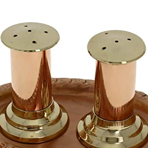 Handmade Copper Salt And Pepper Shaker And Serving Tray Set by ShalinCraft